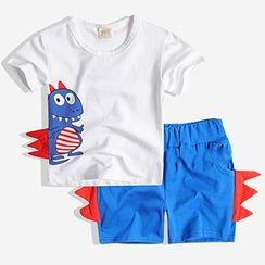 Happy Go Lucky - Kids Set: Printed Short Sleeve T-Shirt + Shorts