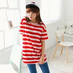 Cocopop - Short-Sleeve Stripe Long T-Shirt