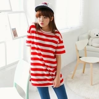 Cocopop - Short-Sleeved Striped Long T-Shirt