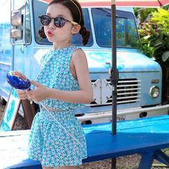 Cuckoo - Kids Set: Floral Print Sleeveless Top + Shorts
