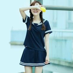 Angel Love - Set: Short-Sleeve Sailor Collar Top + Skirt