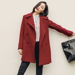 Dimosqisi - Double-Breasted Long Woolen Coat