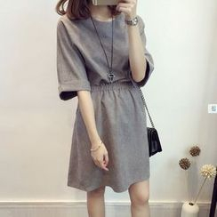 Lovebirds - Elbow-Sleeve Elastic-Waist Dress