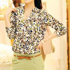 Neeya - Long-Sleeve Floral Print V-Neck Top