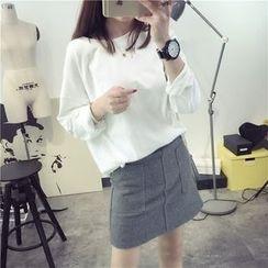 Qimi - 純色長袖T恤