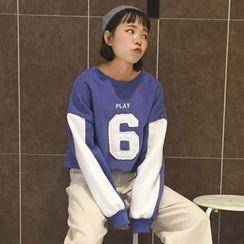 Cloud Nine - Number Applique Two-Tone Sweatshirt