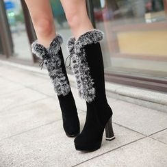 Pastel Pairs - Furry Trim Chunky Heel Platform Tall Boots