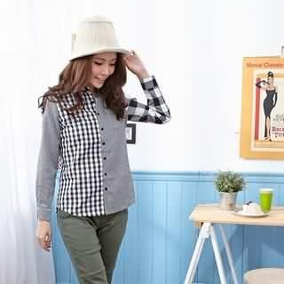 RingBear - Long-Sleeve Check Blouse