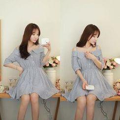 EFO - Check Cold Shoulder A-Line Dress
