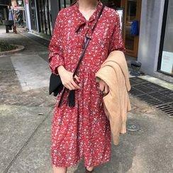 Cloud Nine - Floral Print Bow Neck Dress