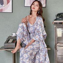 Saacheer - Pajama Set: Floral Print Camisole + Pants + Robe
