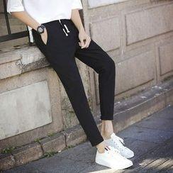Besto - Plain Straight-Cut Pants