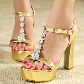 Mancienne - Jeweled Metallic Platform Heel Sandals