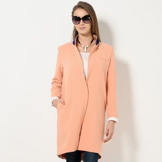 YesStyle Z - Contrast Collar Single-Button Long Blazer