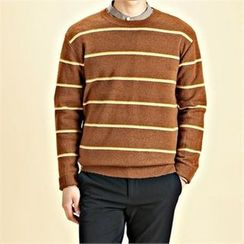 THE COVER - Round-Neck Striped Knit Top