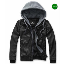 Free Shop - Faux Leather Hooded Jacket