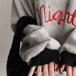 NIPONJJUYA - Drop-Shoulder Contrast-Cuff Lettering Sweatshirt