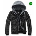 Imagine Men - Faux-Leather Hooded Jacket