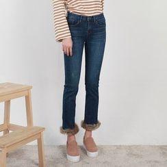 Vintage Vender - Faux-Fur Trim Skinny Jeans