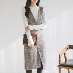 JUSTONE - Asymmetric-Hem Glen-Plaid Jumper Dress