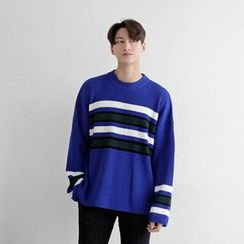 Seoul Homme - Striped Loose-Fit Knit Top