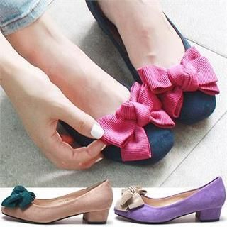Reneve - Bow Faux Suede Pumps