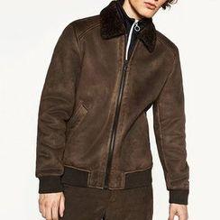 Mannmix - Faux Shearling Zip Jacket
