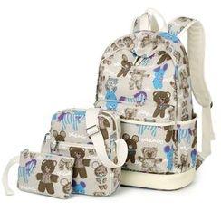 VIVA - Set of 3: Bear Print Backpack + Crossbody Bag + Pouch
