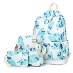 VIVA - Set of 3: Leaf Print Backpack + Crossbody Bag + Pouch