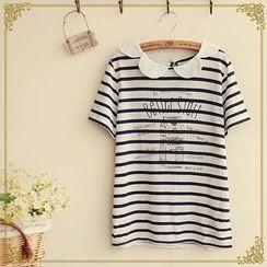 Fairyland - Striped Collared T-Shirt
