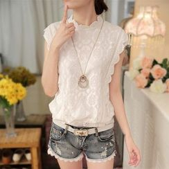 Hazie - Sleeveless Lace Chiffon Top