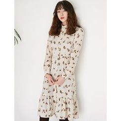 FROMBEGINNING - Mandarin-Collar Floral A-Line Dress