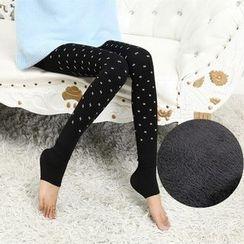 misumisu - Dotted Fleece-lined Leggings