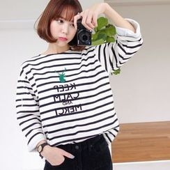 WITH IPUN - Cotton Blend Stripe T-Shirt
