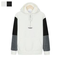 DANGOON - Hooded Contrast-Sleeve Coral-Fleece Pullover