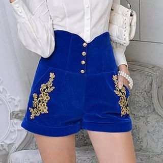 Dabuwawa - High-Waist Buttoned Appliqué Shorts