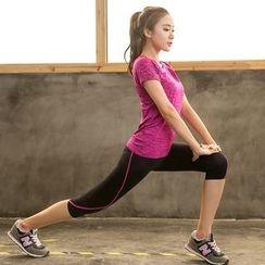 PUDDIN - Sports Set: Short-Sleeve Top + Capri Skinny Pants