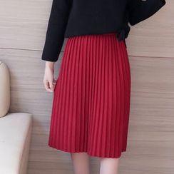Hazie - Pleated Midi Knit Skirt