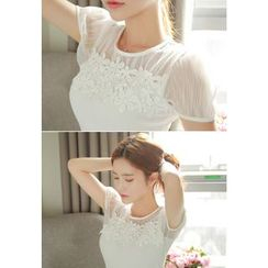 MyFiona - Short-Sleeve Lace-Yoke T-Shirt
