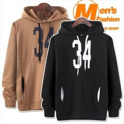 WIZIKOREA - Numbering Hooded Pullover