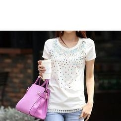Zyote - Short-Sleeve Lace Panel Rhinestone T-Shirt