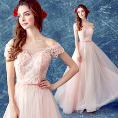 Angel Bridal - Off-Shoulder Lace Appliqué A-Line Evening Gown