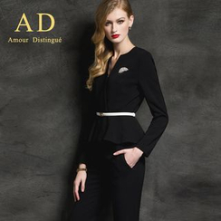 Aision - Set: Ruffle Jacket + Pencil Skirt / Trousers