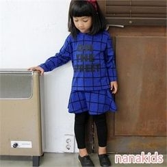 nanakids - Girls Set: Check T-Shirt + Inset Skirt Leggings