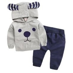 lalalove - Kids Set: Bear Hoodie + Sweatpants