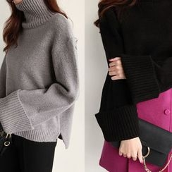 NIPONJJUYA - Turtle-Neck Wide-Sleeve Knit Top
