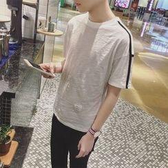 JUN.LEE - Contrast Trim Short Sleeve T-Shirt
