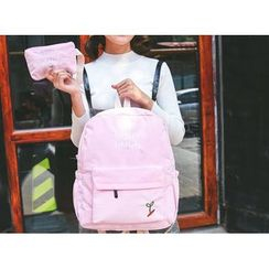 Sweet City - Set: Letter Embroidered Corduroy Backpack + Zip Pouch