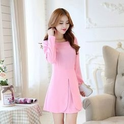 Sienne - Layered Long-Sleeve A-Line Dress
