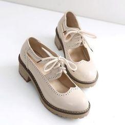 TULASI - Lace-Up Cutout Brogue Shoes